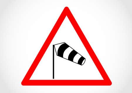 Side winds direction traffic sign. Çizim