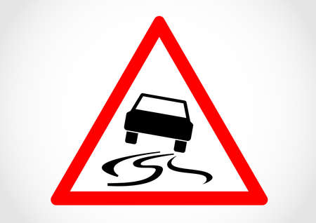 Road slipper when wet or dirty traffic sign. Illustration