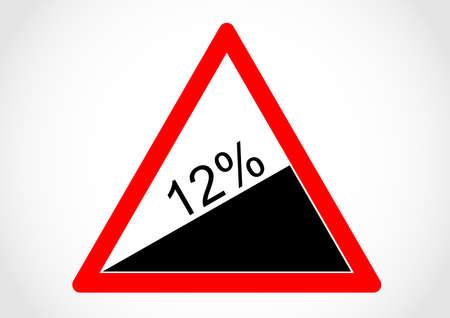 Steep hill upwards sign