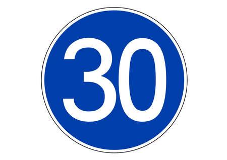 30 km minimum speed limit traffic sign Ilustração Vetorial