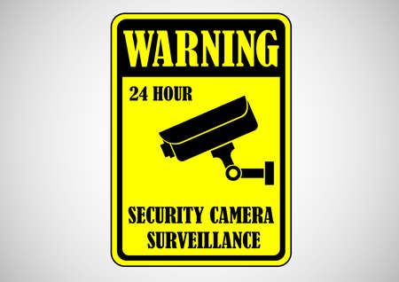 security camera surveillance sign Illustration