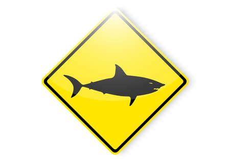 shark area beach sign Ilustrace