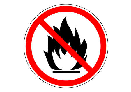 No flame prohibited area sign