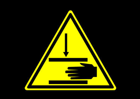 pinch point hand crush warning safety sign