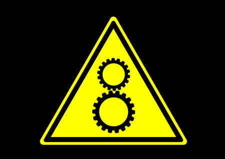 rotating gears warning safety sign