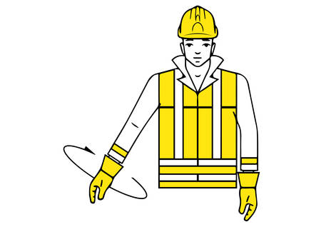 Lower directions signalman gesture illustration.