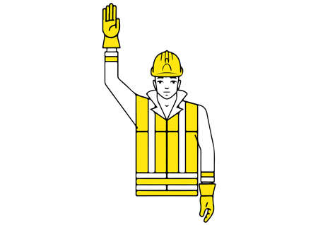 Stop interruption signalman gesture illustration.
