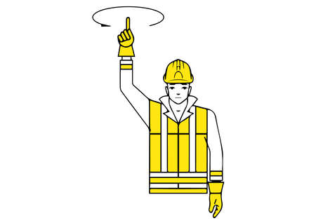 Raise up signalman gesture illustration.