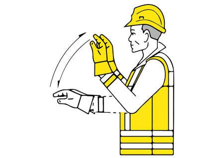 move backwards signalman gesture Ilustração