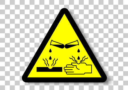 corrosive material safety sign Иллюстрация