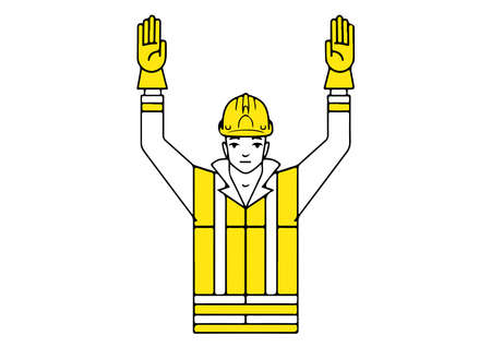 Danger emergency stop signalman gesture illustration.