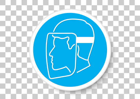 Face Protection Must Be Worn icon Illustration