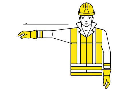 right to the signalman gesture vector illustration Ilustração