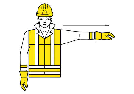 left to the signalman gesture vector illustration