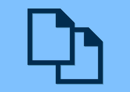A file copy flat icon design isolated on plain blue background. Illustration