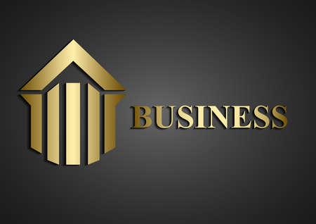 real estate logo gold Illustration