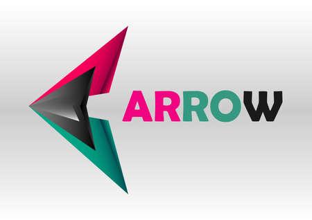 triangle combination arrow logo design Ilustração