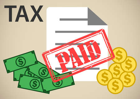 payment of taxes illustrations Vettoriali