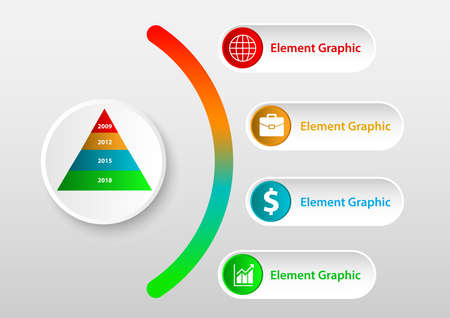 Analysis chart data with icon description Ilustração