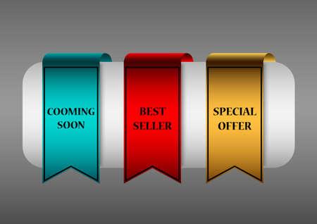 set of marketing labels color
