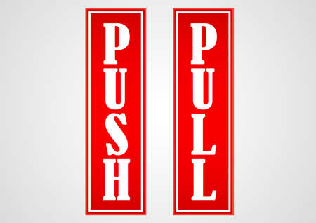 push pull red sticker Illustration