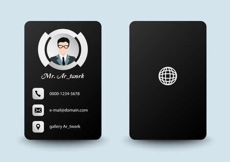 business card potrait black