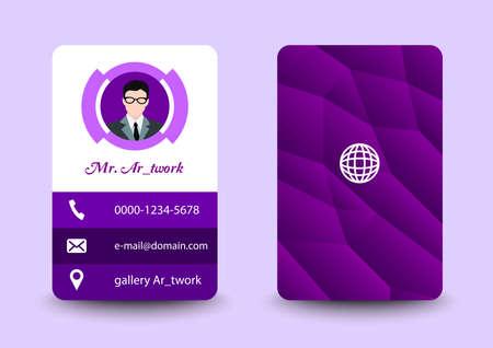 business card potrait purple