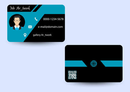 blue stripes business card