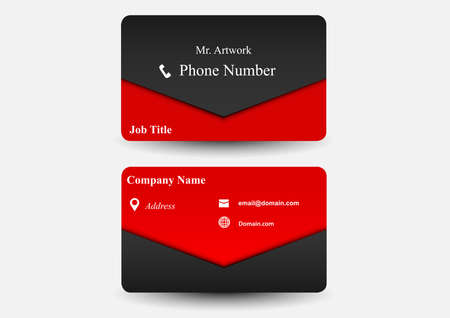 business card red template