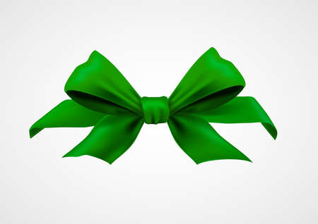 Green ribbon realistic object isolated on a white background.