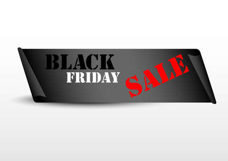 Black Friday paper banner isolated on a white background.