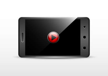 Smartphone video frame landscape rotation isolated on a white background.