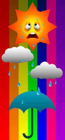Illustration of recycle weather cartoon isolated on colorful background.