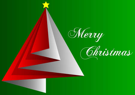 A red Merry Christmas wishes on a green background illustration