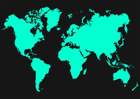 A world map drawing on a black background Ilustração