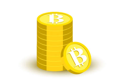 bitcoin banking virtual money flat color design