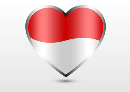 Indonesia national flag hearts Illustration