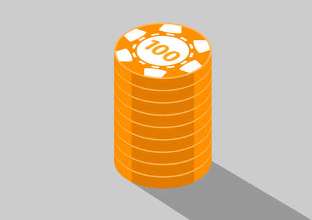 casino isometric coins 100 Ilustrace