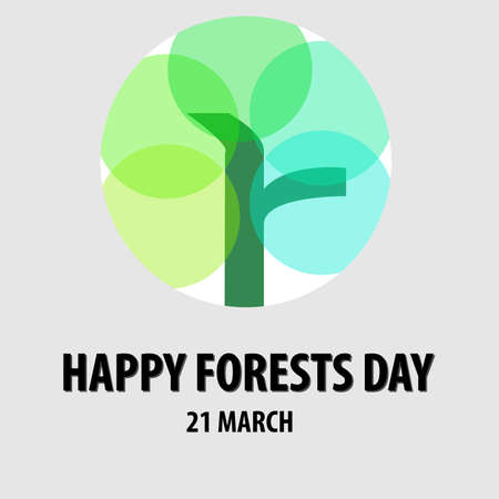 vector design of forests day stamp