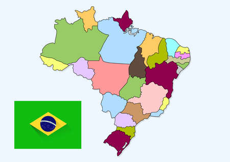 Brazil maps and flag country