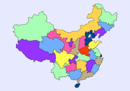 china maps region draw Ilustrace