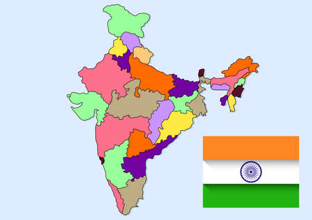 india maps and flag drawing