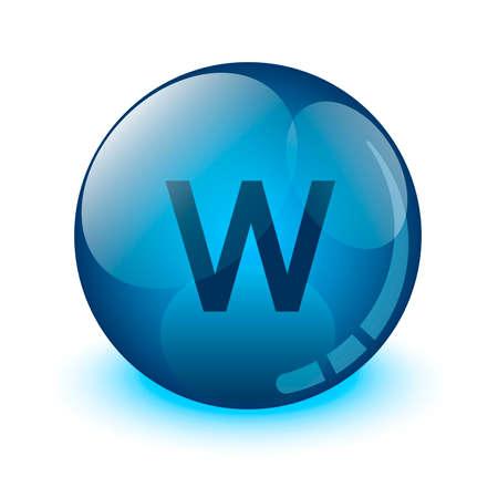 Letter W glass icon
