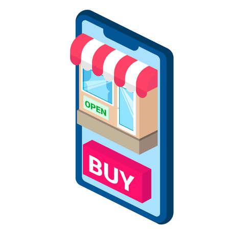 online shop icon Illustration