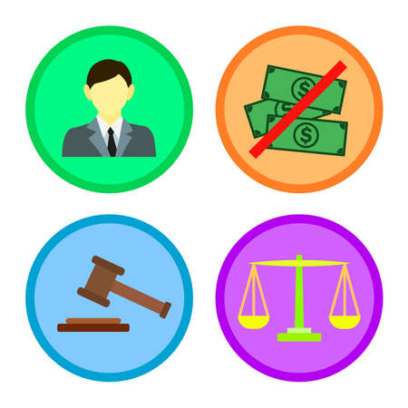 justice in law icon set 向量圖像