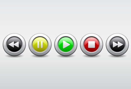 media player button iconset 向量圖像