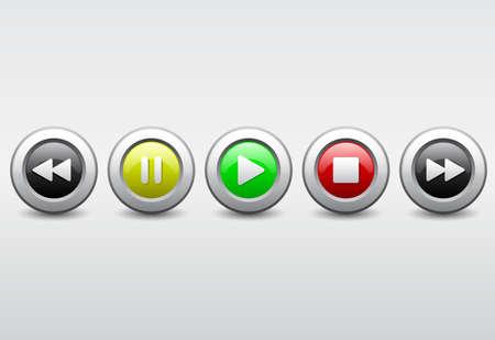 media player button iconset Illustration