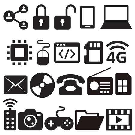 digital social media electronic set icon