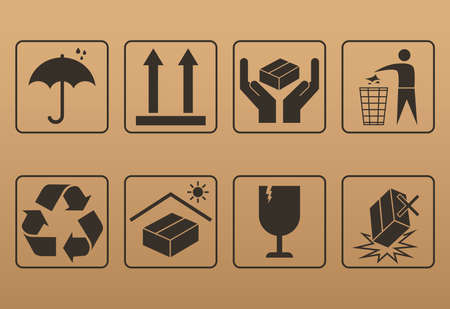 fragile packaging icon set 向量圖像