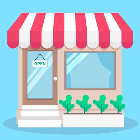 shop open flat illustration